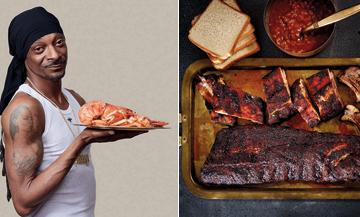 Portrait de Snoop Dogg et son Plat de ribs à la sauce californienne avec travers de porc, sucre roux, paprika, piment de Cayenne et sauce barbecue