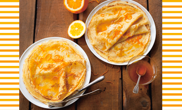 Crepes Suzette avec caramel à l'orange et flambé au Grand Marnier