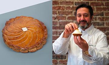 Portrait de Benoit Castel et sa galette des rois avec pâte feuilletée, beurre, poudre d'amande, rhum brun