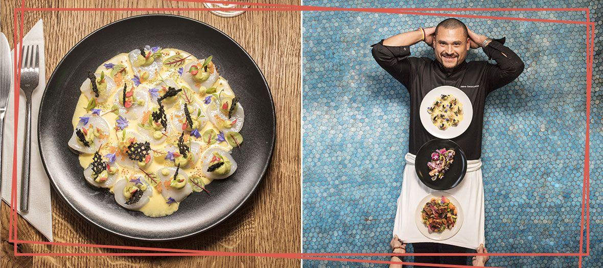 Plat de Ceviche avec coquilles Saint Jacques, leche de tigre, guacamole, tuile à l'encre de seiche, œufs de poisson volant, citron jaune, coriandre et blette rouge