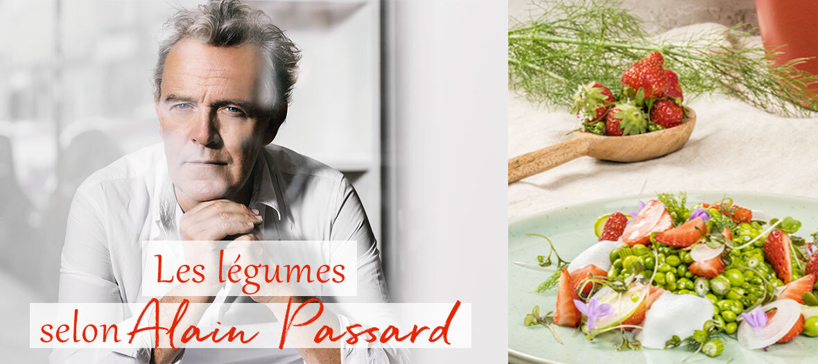Le chef Alain Passard donne sa recette préférée du printemps : des petits pois aux herbes et fraises.