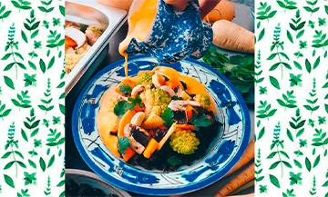 Plat de Curry Vegan avec courge butternut, chou romanesco, carottes, panais, champignons, huile d'olive, oignon rouge, ail, citronnelle fraîche, lait de coco, curry, Sel et poivre