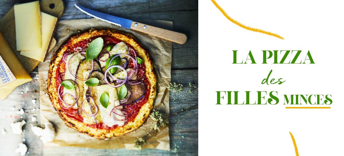 Pizza Light avec une pâte à pizza sans gluten, tomates, aubergines, chou-fleur et gruyère suisse