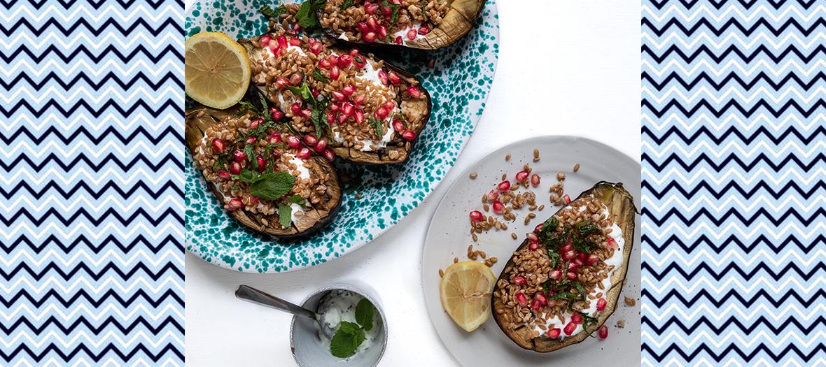 Recette d'aubergines grillées et grenades Extrait du livre Batch cooking libre dîners légers