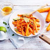 Recette Frites Healthy avec des carottes, cumin, coriandre, citron vert, miel, fleur de sel, Poivre moulu