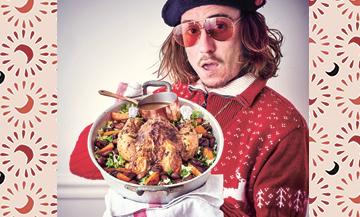 Plat de Chapon de Scotchman avec châtaignes, carotte, truffe, oignon, Huile d'olive, moutarde, Ciboulette, Sel et poivre