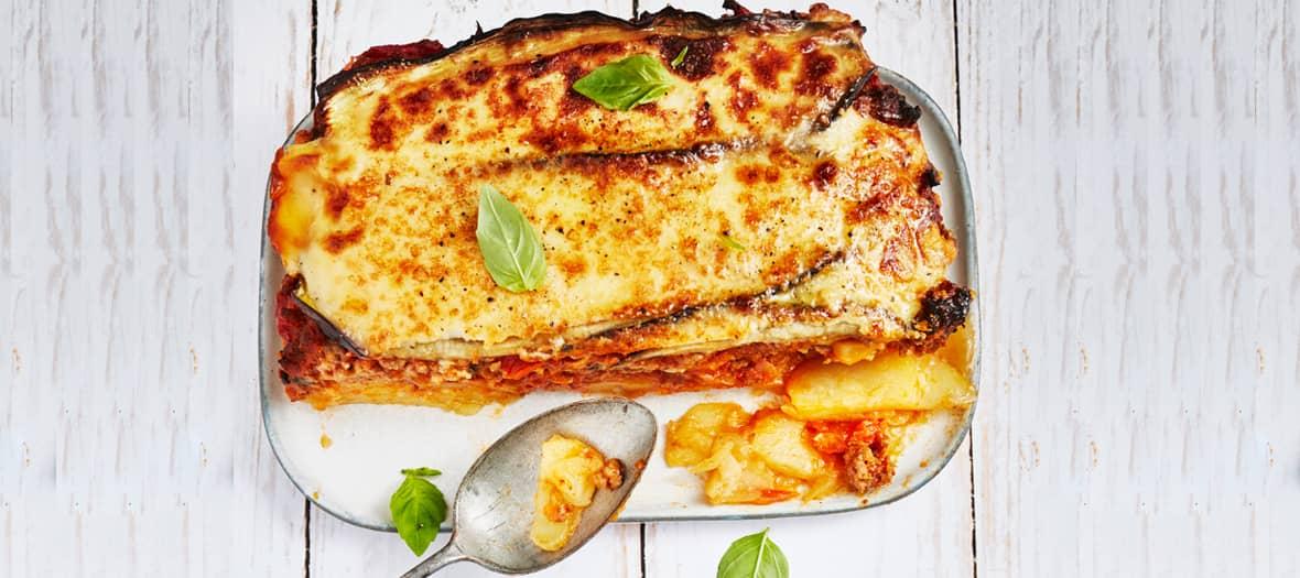La recette de la Moussaka Crétoise aux pommes de terre et à la béchamel