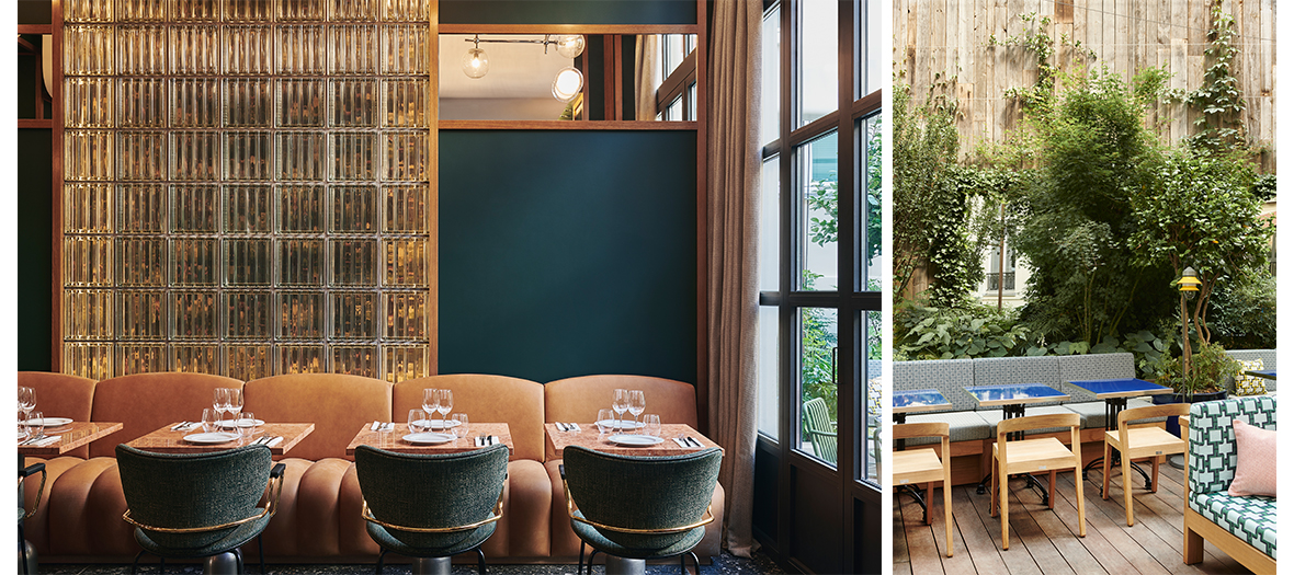 Décoration de la salle a manger et la terrasse-jardin de l'Hôtel Ballu