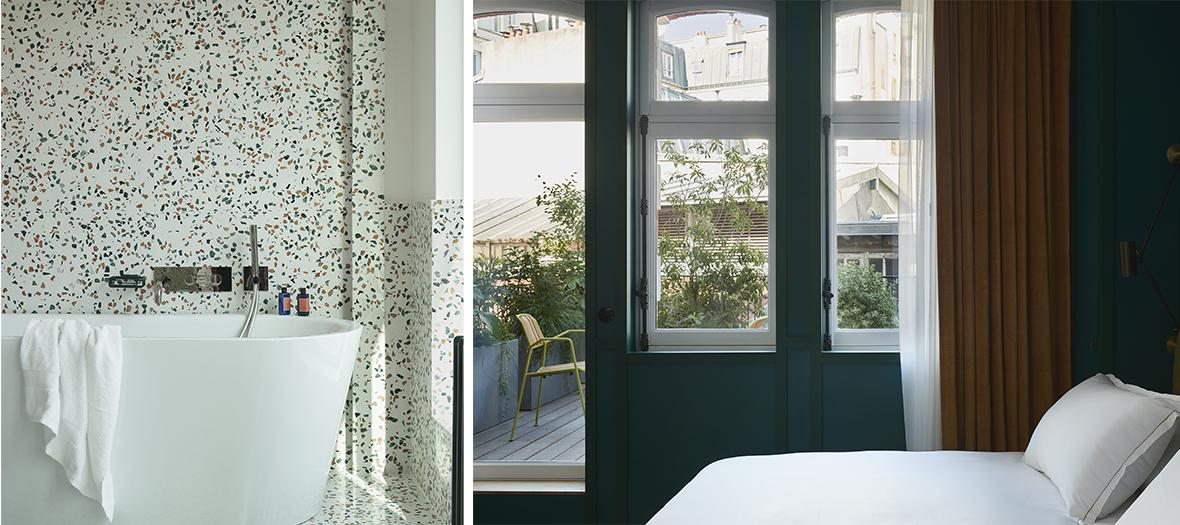 Décoration de Chambre avec terrasse-jardin à l'Hôtel Ballu