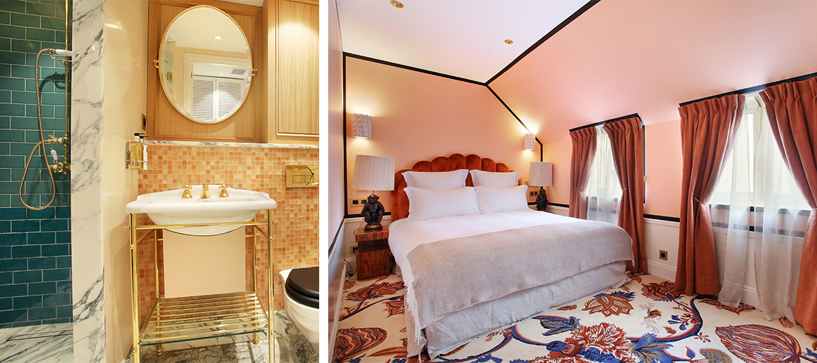 Decoration de chambres avec moquettes à gros imprimé fleuri et salle de bain avec des jolis bibelots à l'Hotel Le Ferdinand par Laura Gonzalez