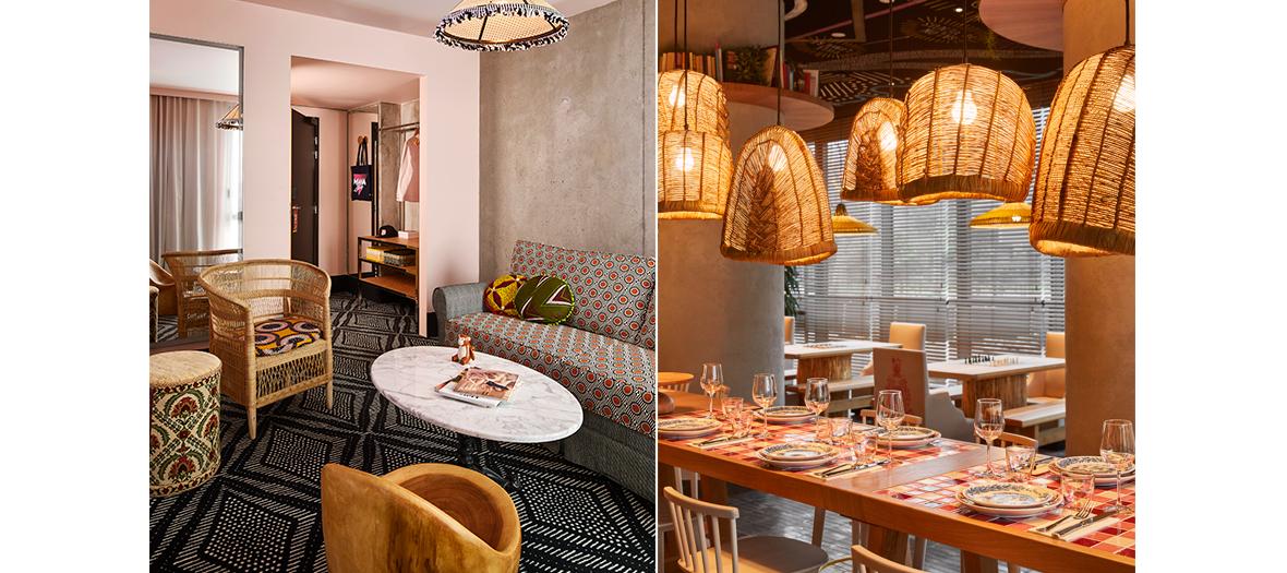 Décoration avec couleurs et imprimés du sol au plafond de chambre et du restaurant de l'hotel Mama Shelter Paris West par Jean-Michel Wilmotte