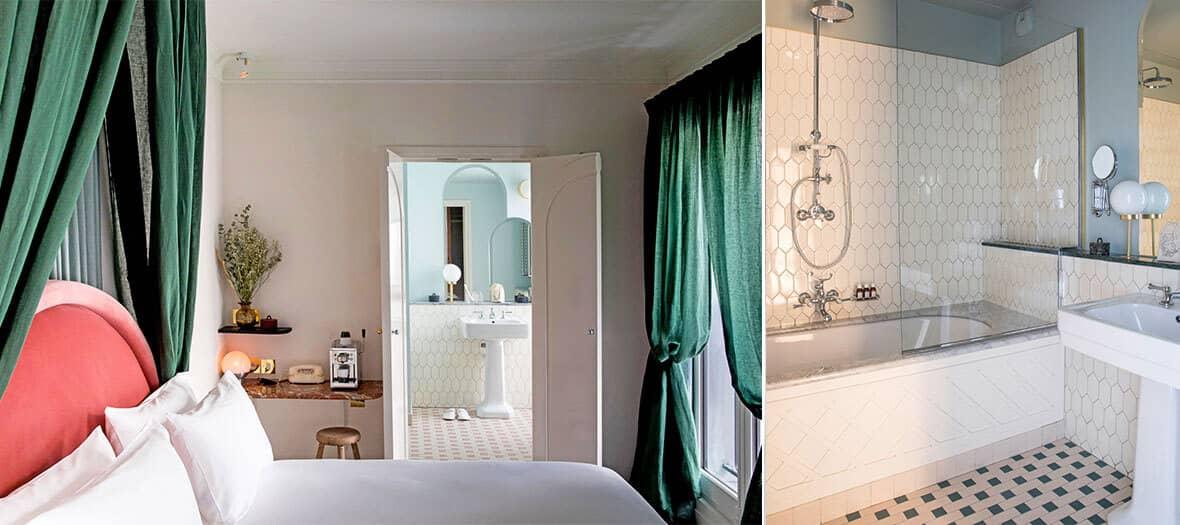 Chambre et Salle de bain à l'hôtel Les Grands Boulevard à Paris