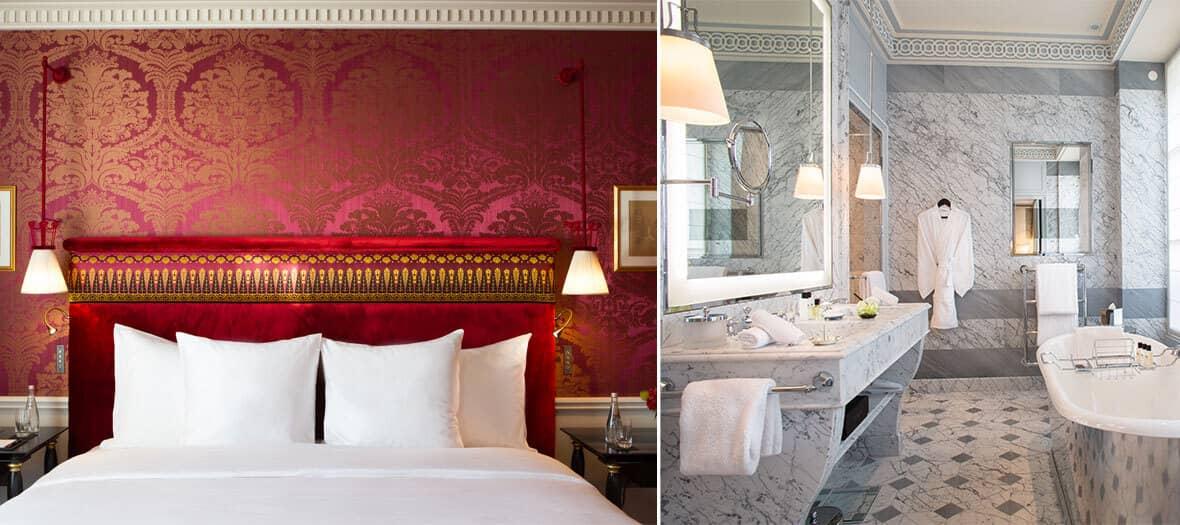 Chambre standard et salle de bain à l'hôtel de la réserve à paris
