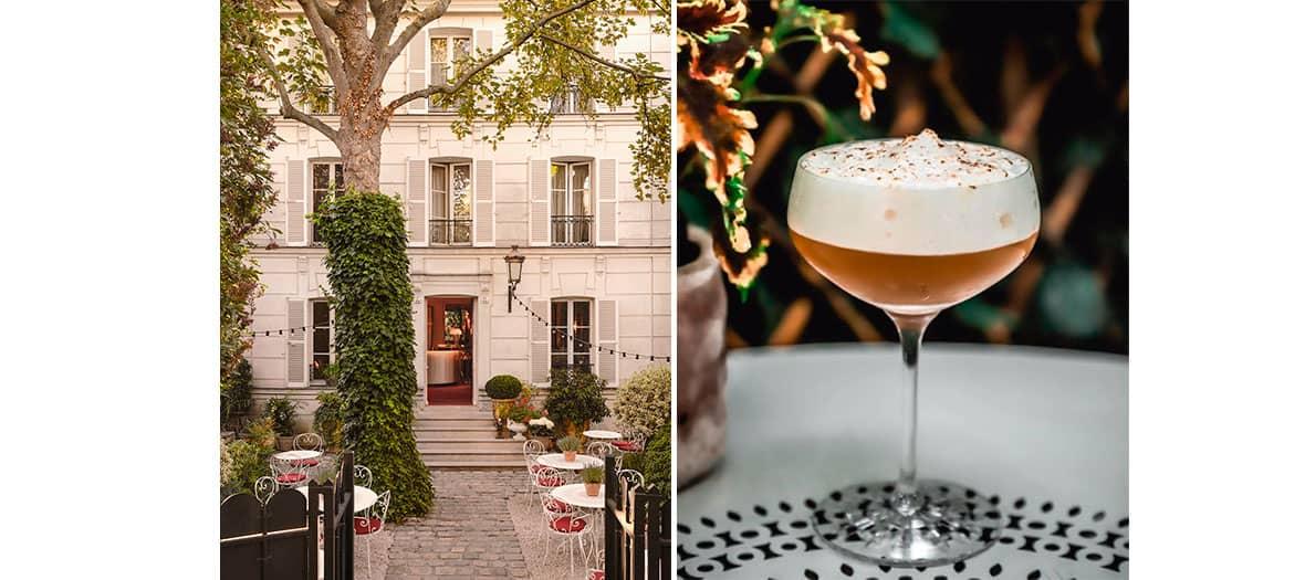 Degustation d'un cocktail dans le jardin de l'Hôtel Particulier Montmartre à Paris