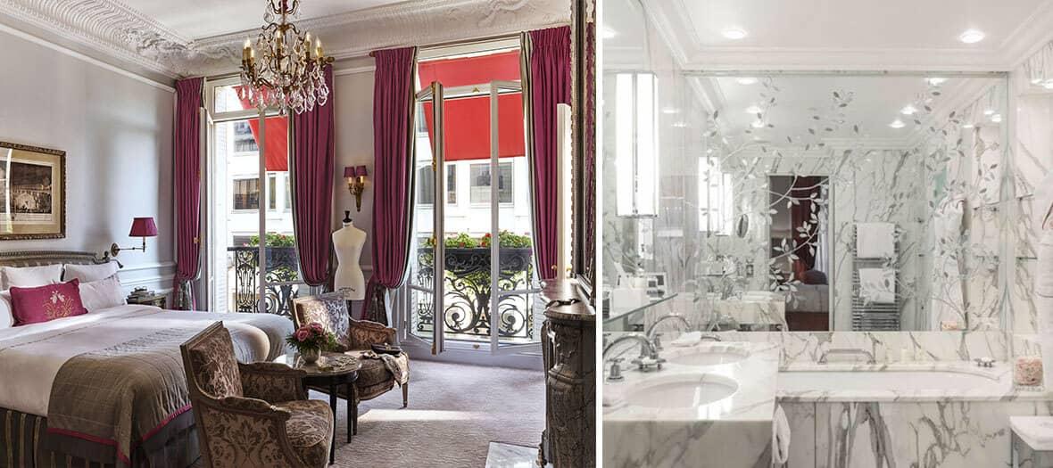 Chambre et salle de bain au Plaza Athénée à Paris