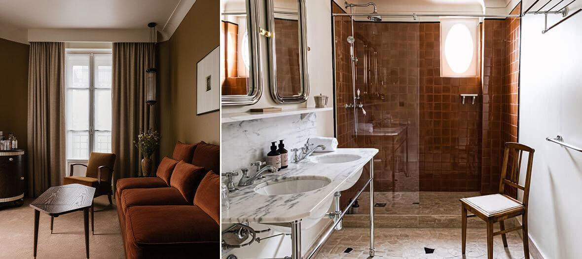 Chambre et Salle de bain à l'hôtel Rochechouart à Paris
