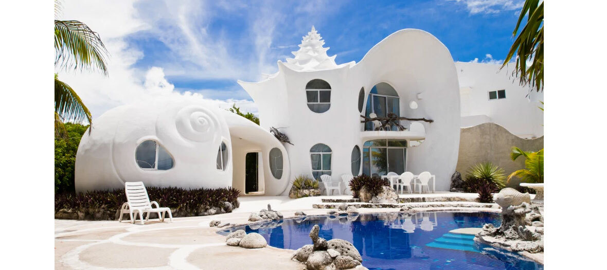 La maison coquillage sur Isla Mujeres signée du designer Eduardo Ocampo