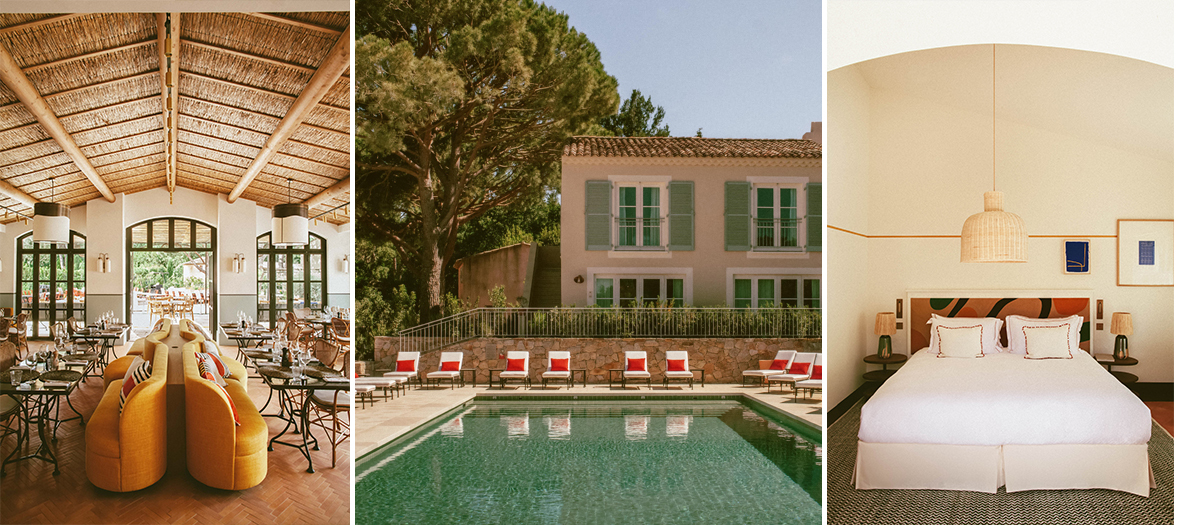 Lou Pinet in Saint-Tropez with the bar in the garden to sip a glass of rosé wine listening to the crickets, a pétanque bowling ground to play at sunset and a restaurant under the pergola. And for a moment of relaxation: the Tata Harper spa.