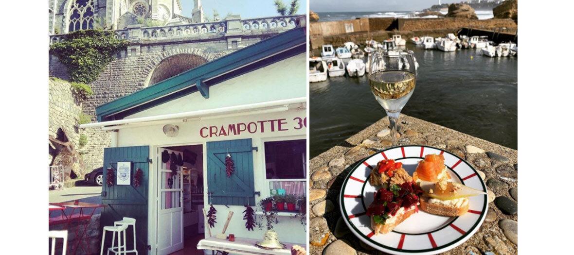 Crevettes-mayo, moules au chorizo, poulpe grillé au restaurant Crampotte 30 à Biarritz
