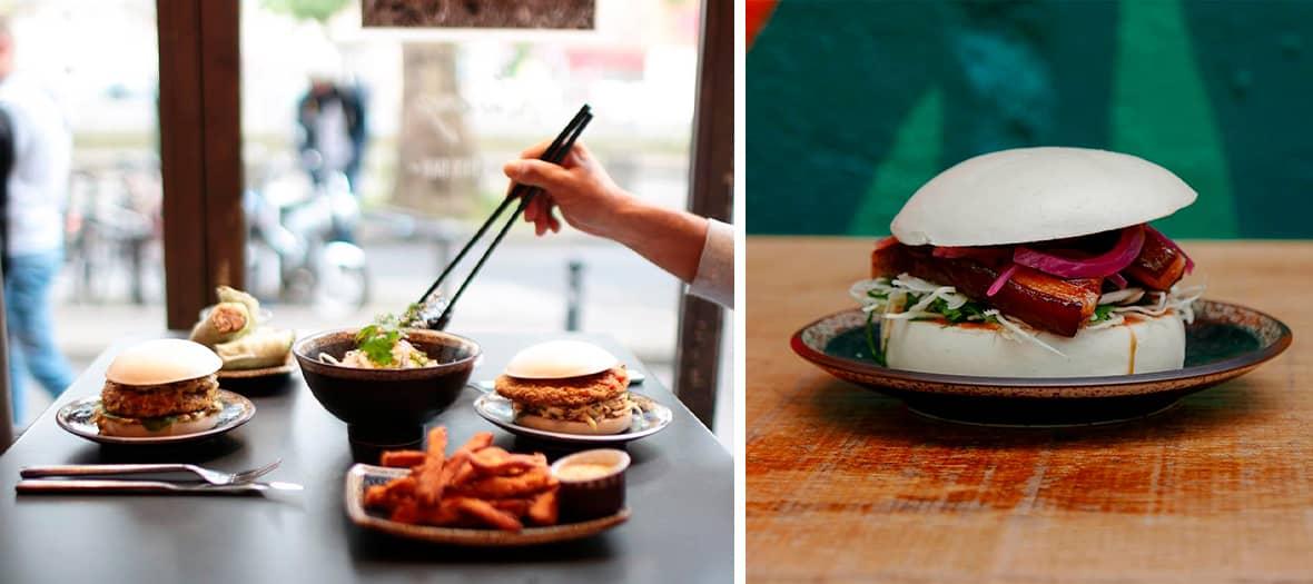 Bao burger avec frites de papates douces, les croquettes de crevettes et les tempuras de légumes chez Siseng