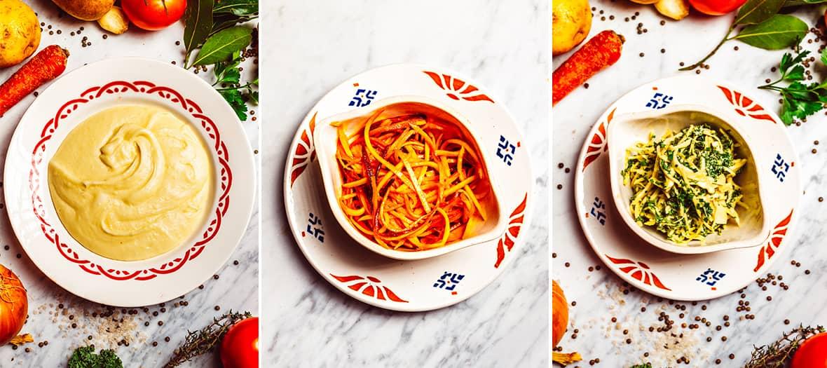 Garnitures de chez Ohisse avec la purée à l'Aligot, le coleslaw et carottes