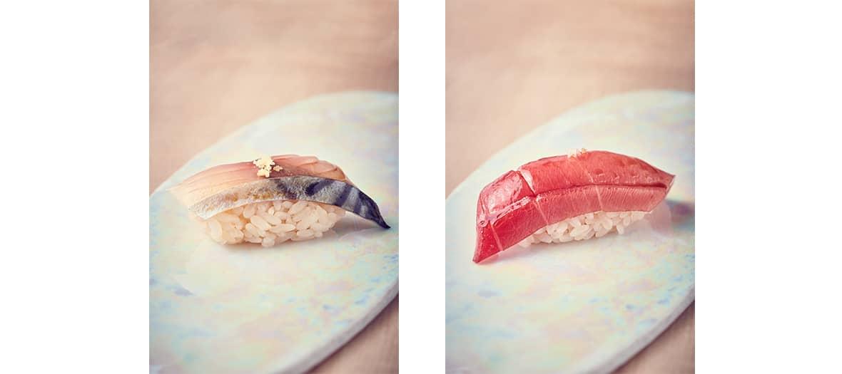 Collection de sushis nigiris, sashimis, sushis, makis en dégustation à L'Abysse de Yannick Alléno