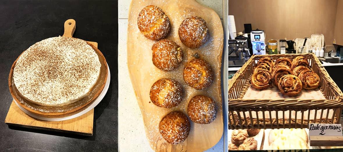 Gateaux et patisserie de chez Tapisserie avec la part de flan, le roulé aux raisin, la tartelette chocolat et caramel et le Kouign-Amann