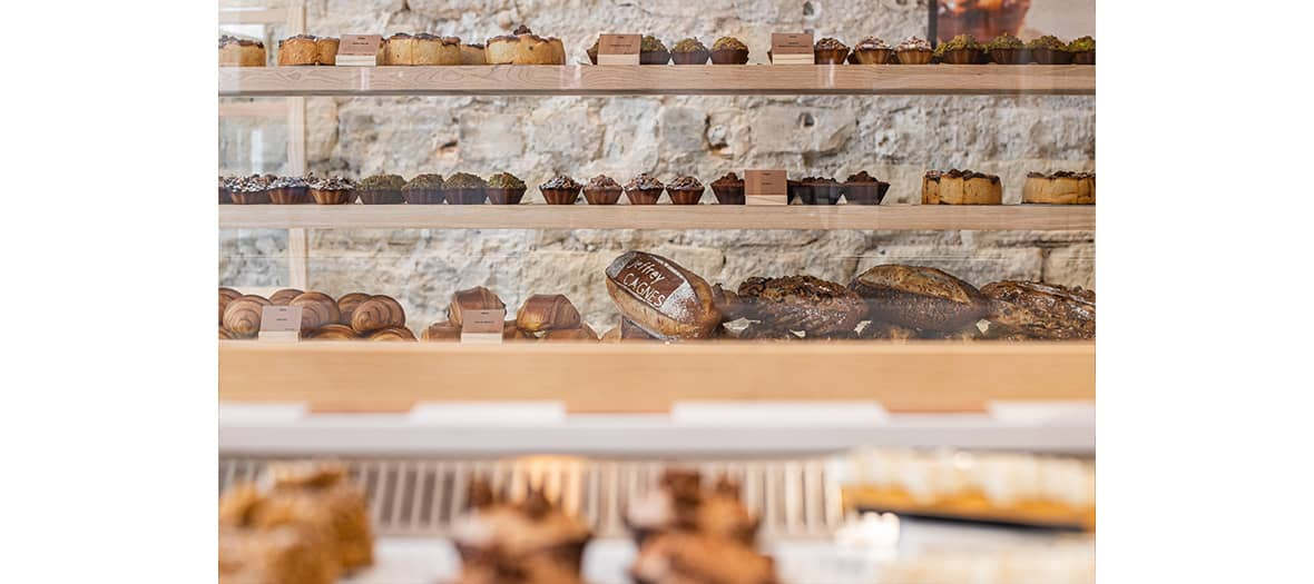 Breads and pastries, with croissants and pain au chocolat with delicate puff pastry, logo loaves made by an artisan baker at Jeffrey Cagnes