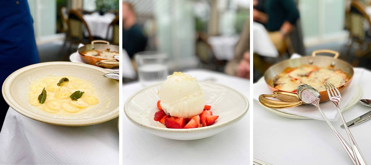 Le menu du restaurant Ischia avec Carpaccio, Vitello tonnato et sorbet au citron de Sicile et fraises fraîches.