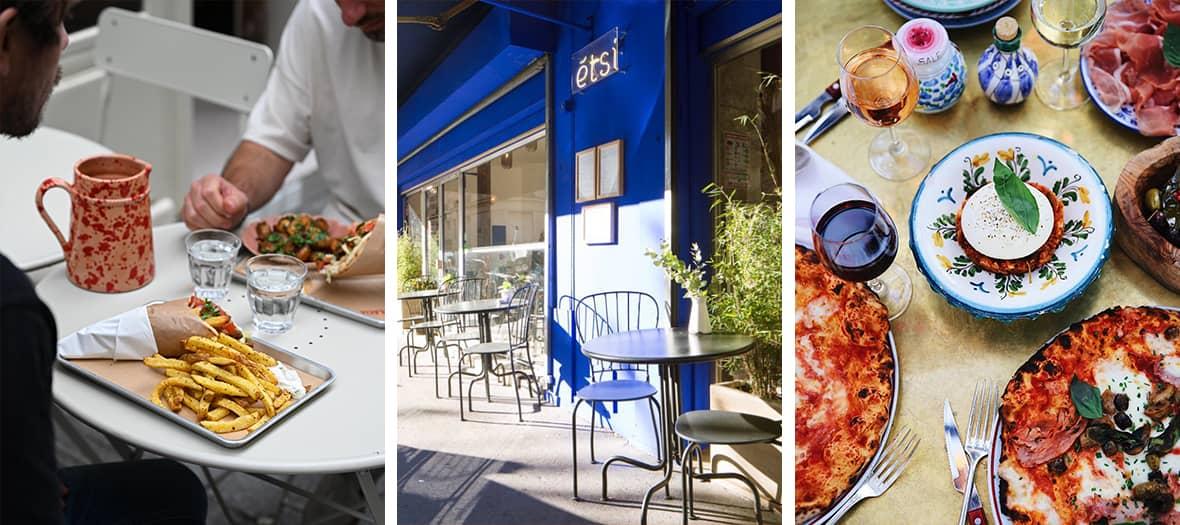 Les terrasses des restaurants méditerranéens avec Janou, les Niçois et Bocca sur Seine.