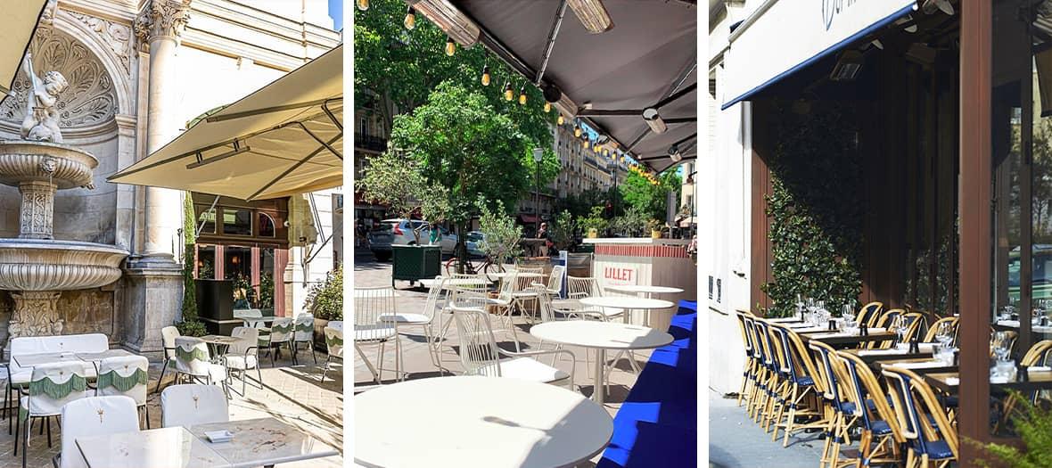 Les terrasses des restaurants gastronomiques avec l'Epi d'Or, Drouant et Yaya Secrétan