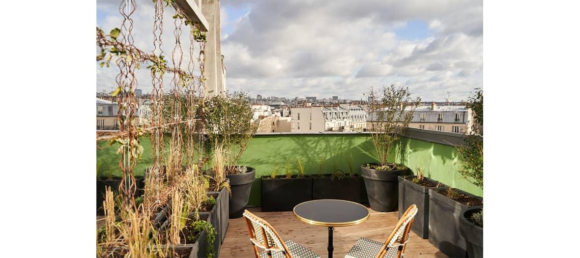 The terrace of the hotel du Sentier in Paris