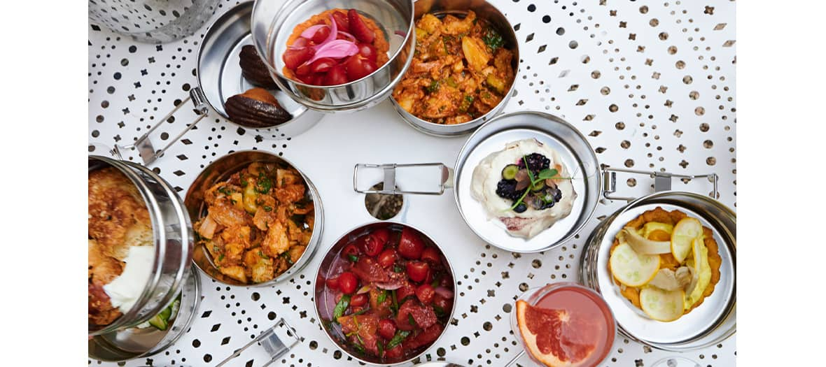 Dish and menu of Chloé Charles at Jardind'olympe