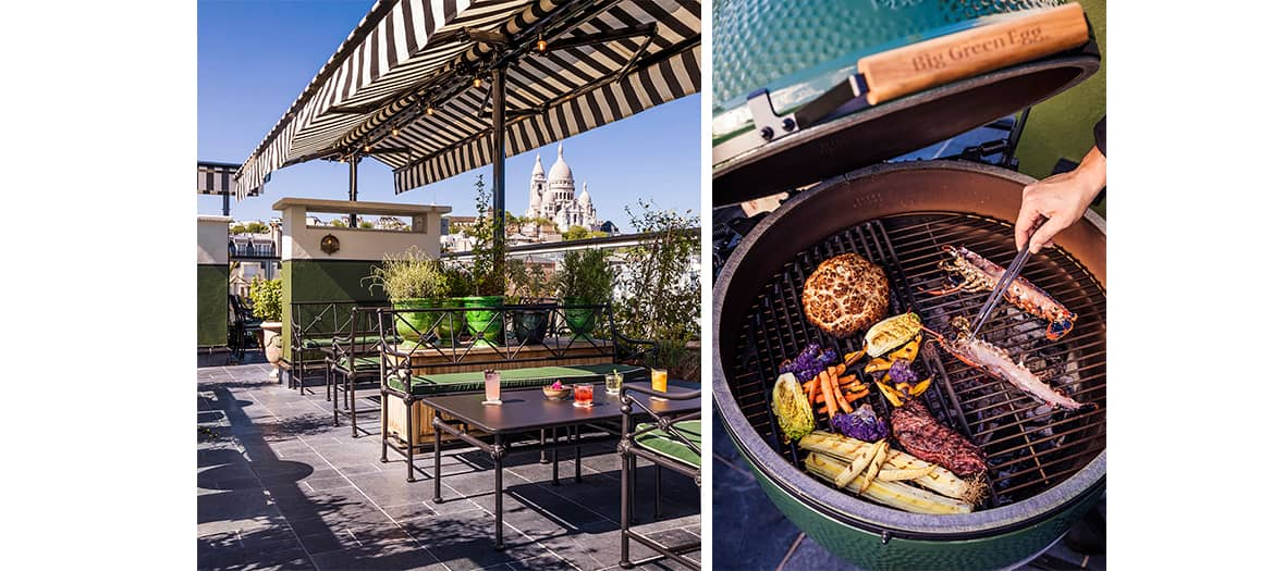 """l'offre """"le gril sur le toit"""" avec barbecue à l'hôtel Rochechouard"""