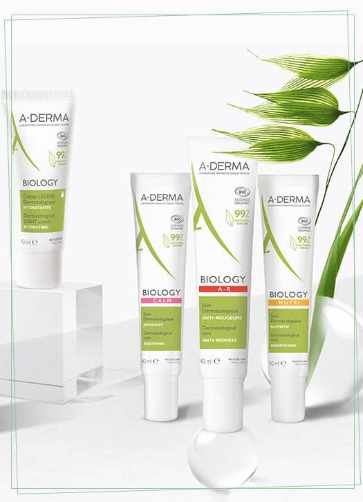 Eau micellaire confort ou fraicheur 200 ml, crème légère ou riche 40ml, soin anti-rougeurs, soins nutritif, soin apaisant 40ml, Biology A Derma