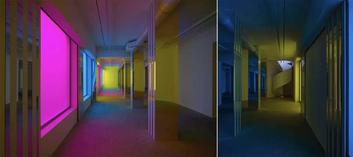 L'exposition de Daniel Buren en collaboration avec Philippe Parreno à la galerie Kamel Mennour.