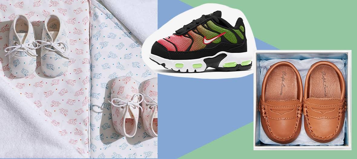 Chaussures Paf Adada Dots Hermès, Nike Air Max Plus et mocassins Penny de Ralph Lauren pour bébés.
