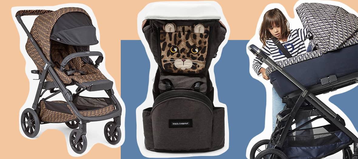 porte-bébé léopard Dolce & Gabbana, poussette Fendi et landau Dior.