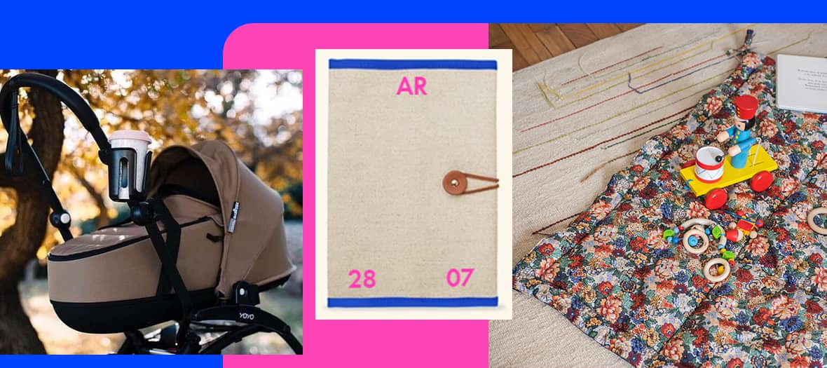 Utilitaire pour bébés avec protège carnet de santé de L/Uniform, le tapis d'éveil Nido The Socialite Family et porte-gobelet Babyzen adapté aux poussettes Yoyo.