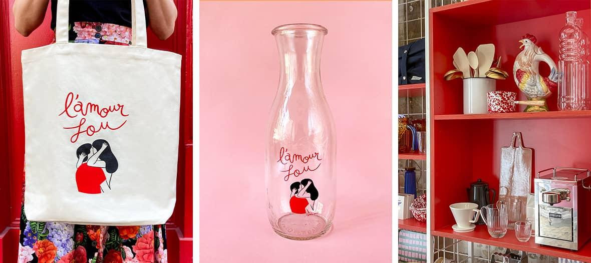 Le concept store avec des articles comme des baffles transparentes, des savons, des rasoirs.