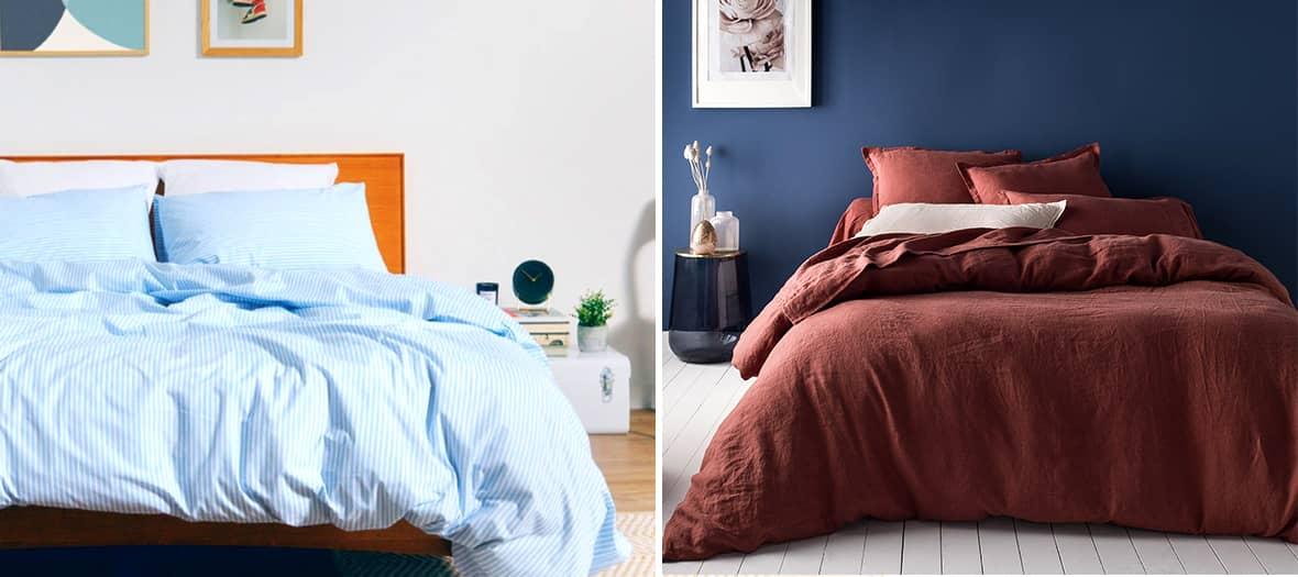 Parure de lit à fine rayures bleues et blanches de la maison Bonsoir.