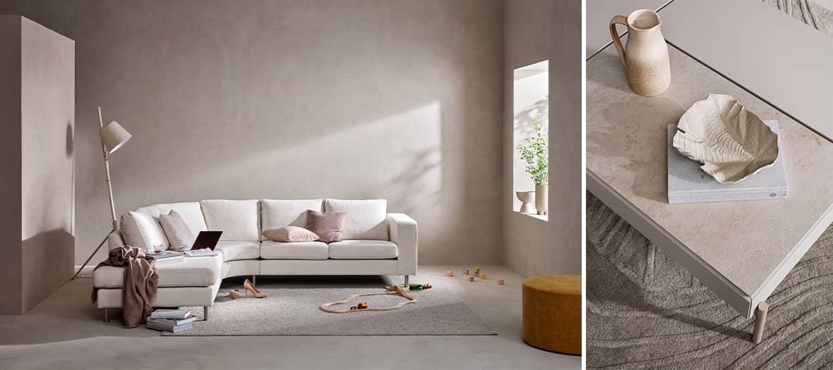 La table Chiva et le canapé indivi classic dans un salon scandinave Bo Concept
