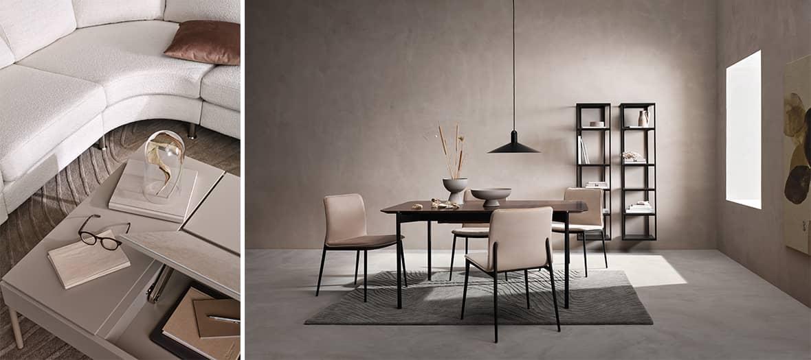 Le canape indivi classic et la table augusta dans un salon Bo Concept
