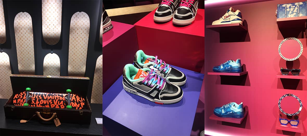 Collection de streetwear avec des sneakers et skateboards à la boutique Louis Vuitton au pont neuf