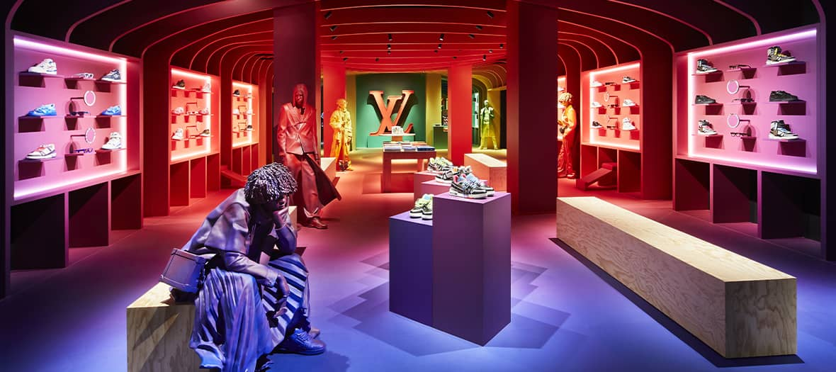 Boutique streetwear pour la collaboration Virgil Abloh Louis Vuitton