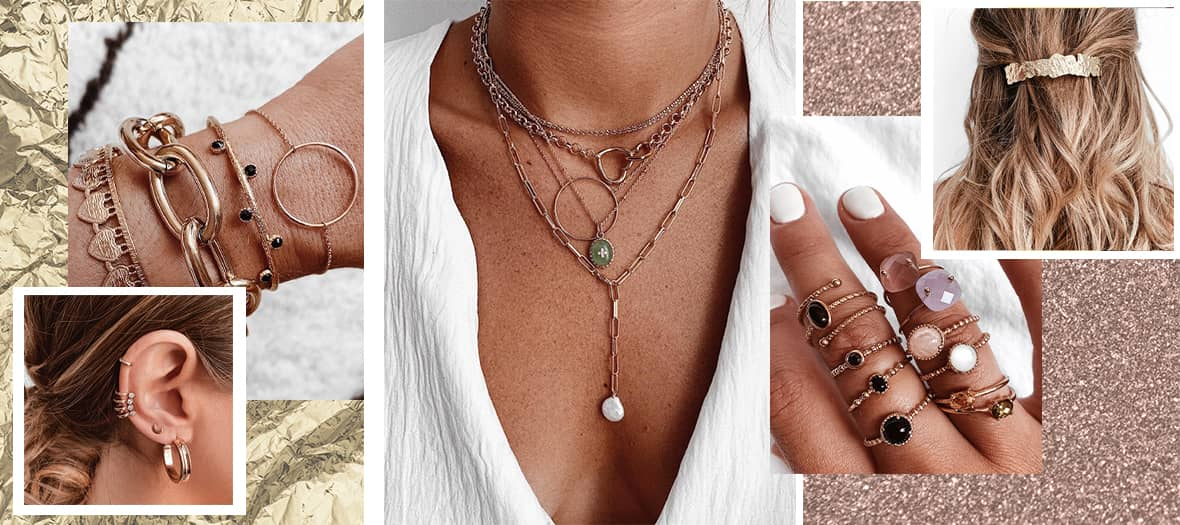 Bijoux de la marque Chichicastelnango avec boite à bijoux, barrettes, Collier, médaillons piercing et boucle d'oreille de la marque Chichicastelnango