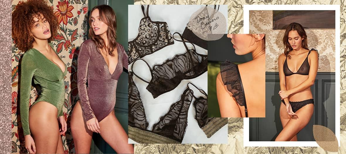 Collection lingerie avec un petit tanga sexy, une culotte froufroutante de beaux soutien-gorge et un body de la marque Chichicastelnango