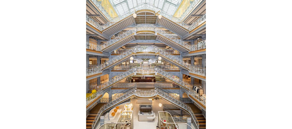 The excalier under the Art Nouveau glass roof at the Samaritaine