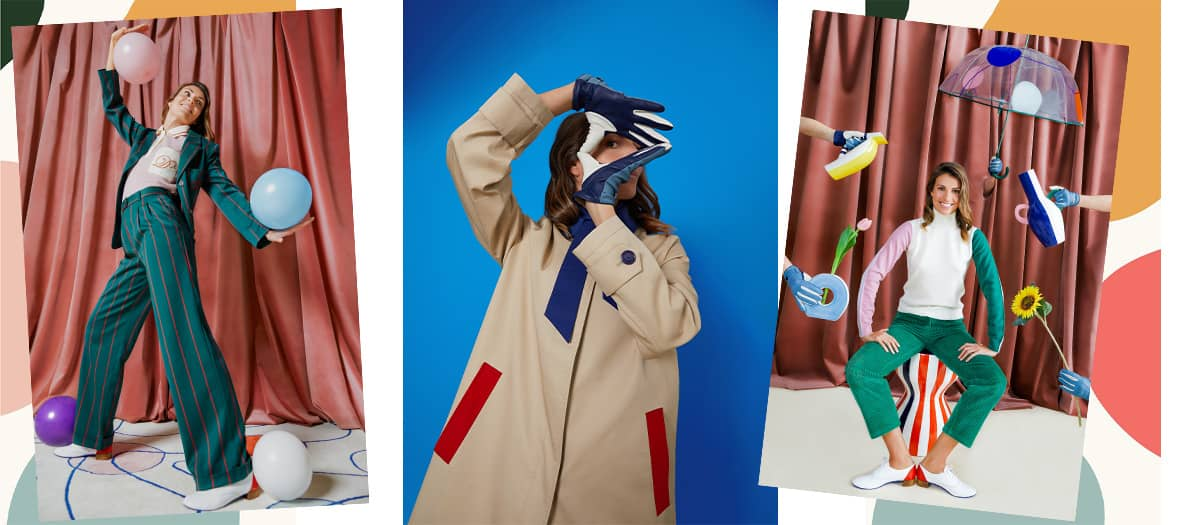 The Monoprix and DA/DA collab with a red striped cream sleeveless sweater, a bottle green pantsuit, color block derbies, a trench coat, pajamas, a small quilted jacket, tricolor vases, plates, rugs, coffee table and cushions.