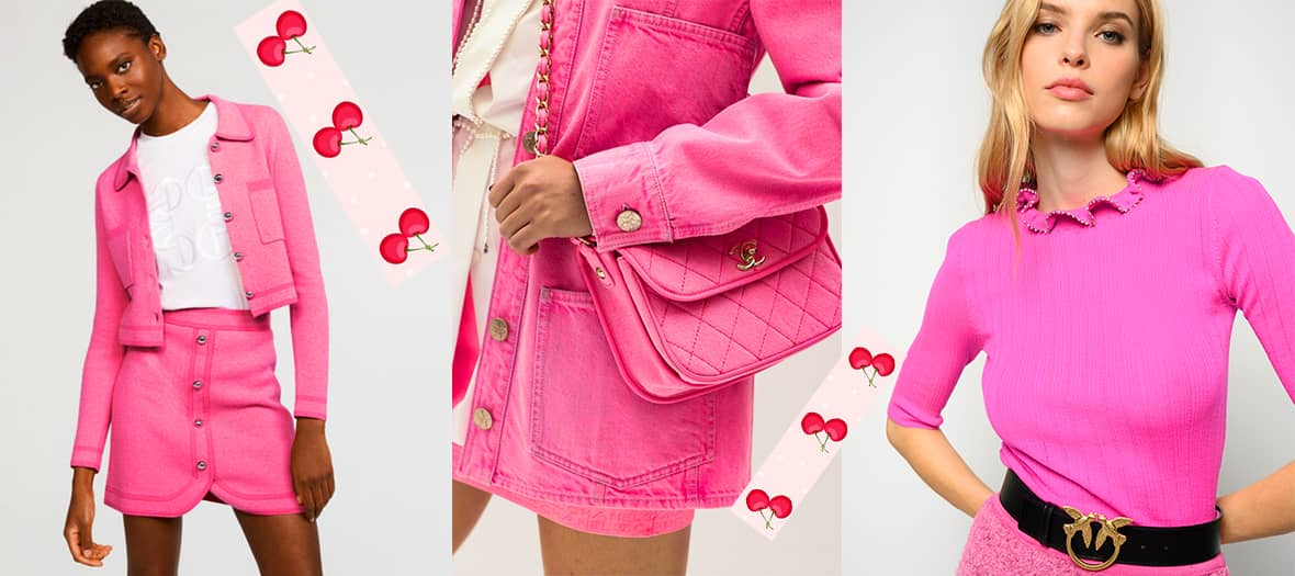 an ultra-luminous candy pink, almost neon, between Barbie and fuchsia.